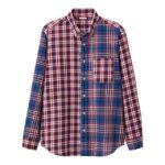 ツイルチェックシャツ(長袖)(クレイジー)JNブルー